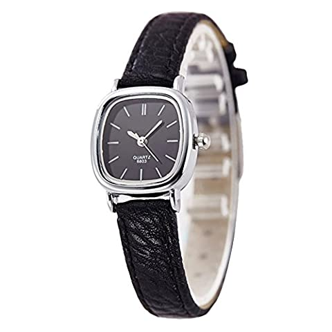 YAHE Women Small Square Dial Leather Strap Classic Unisex Dress Unusual Quartz Watchs (Black)