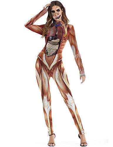hen Frauen Skelett Skin Anzug Knochen Halloween Kostüm Jumpsuit, Polyester, Colour Mixture, M ()