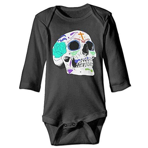 Monicago Neugeborenes Baby-Jungen-Mädchen-Bodysuit-Lange Hülse, Sugar Skull Colortone Baby imple Playsuit Long Sleeve Bodysuit