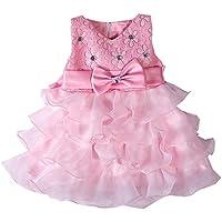 LaoZan Senza Maniche Ragazze Vestito Bambina Ruffles Tulle Tiered Strass Partito Compleanno Principessa Abito Pink 110CM / 2-3 anni