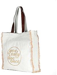 Large White Color Canvas Tote Shoulder Bag Stylish Shopping Casual Bag Foldaway Travel Bag