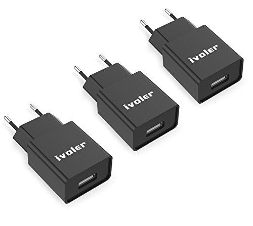 iVoler [3 Stücke] Slim 1A USB Wand-Ladegerät Netzteil Stecker Strom Adapter Reiseladegerät für iPhone, iPad. Mini Reise Ladeadapter Charger Ladestecker für Handy, Tablet, Smartphone (Schwarz/Black)
