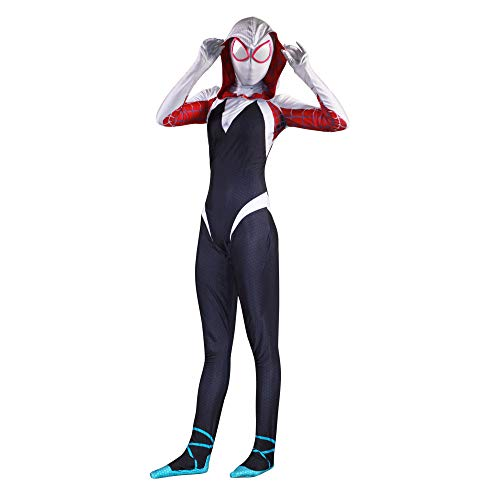 HEROMEN Frauen Spiderman Kostüm Halloween Cosplay Cloak Tights Dress Up Kleidung - Schwarz,Black-M (Spiderman Black Kostüm Comic)