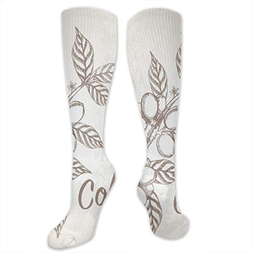 Unisex Highly Elastic Comfortable Knee High Length Tube Socks,Monochrome Sketch Branch With Leaves And Beans Agricultural Components Coffee,Compression Socks Boost Stamina,Pale Tan Cocoa