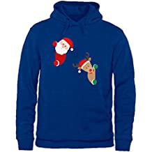 ouzhouxijia Womens Funny Santa Claus and Elk Pattern Casual Pullover Hooded Sweatshirt