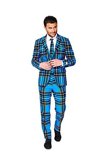 Braveheart Schottland Anzug Karo Muster Opposuit Slimline Premium 3-teilig Gr. (Kostüm Kostüm Braveheart)