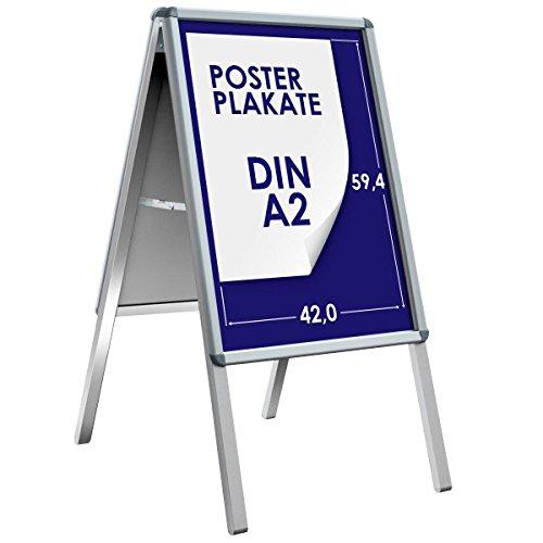 Plakat-schutzfolie (Kundenstopper | A2 | Wetterfester Werbeaufsteller, Plakatständer, Werbetafel | Indoor & Outdoor | Magnetische Metall-Rückwand | 32mm Rahmen)