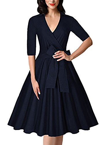 Gigileer 1950er Rockabilly Damen Kleid V-Neck Swing Kleider mit Gürtel Abendkleid Party Cocktailkleid Navy M