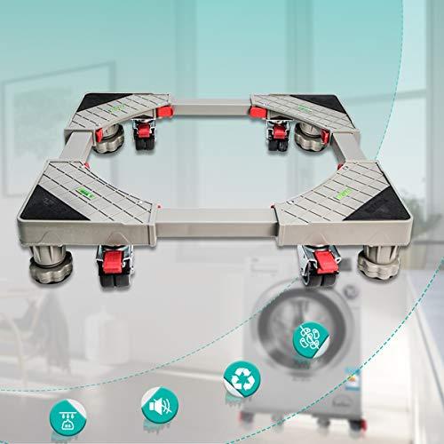 Nisso Waschmaschine Sockel Verstellbar Beweglicher Basis mit 4x2 Gummi-Räder und 4 Füßen,...