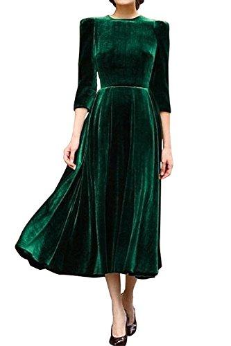 Les Femmes Vintage Des Années 1940 3 / 4 Manche Zipper Taille Haute, Maxi Robe Drapée Swing Décolleté green