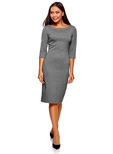 oodji Ultra Damen Tailliertes Kleid mit U-Boot-Ausschnitt, Grau, DE 36 / EU 38 / S