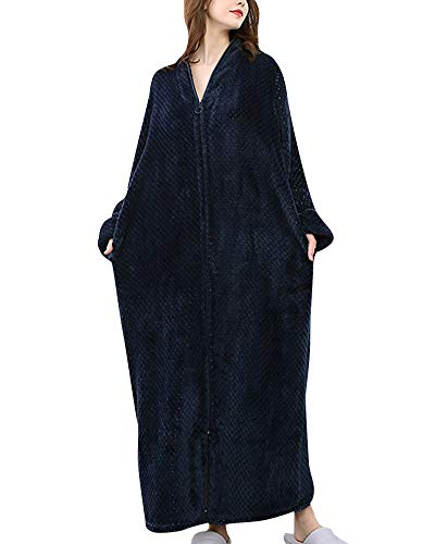 Bata de Estar por Casa-Albornoces Super Suave-Tamaño Grande-Larga Pijama,Home Basic-para Unisex Mujer Hombre Marina de Guerra M