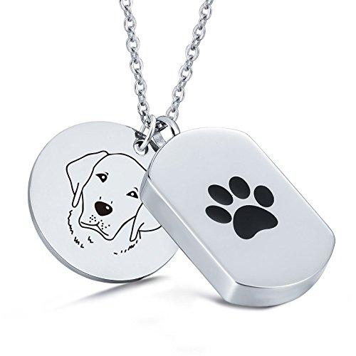 Aooaz Dog Tag Kette mit Hund Pfote Anhänger Halskette Edelstahl Haustier Asche Schmuck, Memorial Urne Anhänger Worten Gravur - Alaskan Malamute -