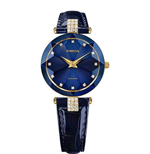 Jowissa Facet Strass Swiss J5.617.M - Reloj de Pulsera para Mujer, Color Azul y Dorado
