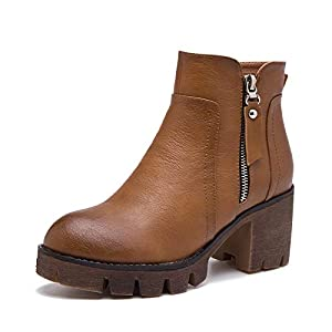 Top Shishang Herbst und Winter Frauen Casual Dicke Hochhackige Runde Martin Stiefel Chelsea Stiefel und Stiefeletten westlichen Stiefeletten