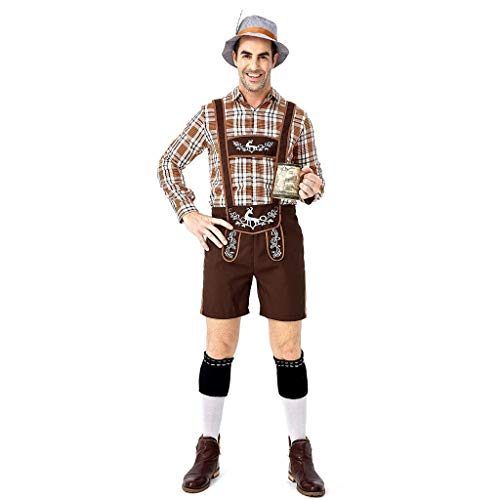 Chejarity Herren Trachtenhose Kniebundhose 3 TLG: Bayernhut,Bluse,Trägerhose Oktoberfest Bierfest Kostüm Set Bayerische Bar Kellner Set Halloween Traditionelle Kleidung Lederhose (L, - Traditionelle Kostüm