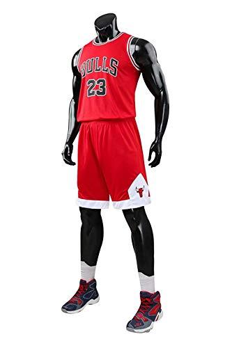 Yueyue Herren NBA Michael Jordan # 23 Chicago Bulls Retro Basketball Shorts Sommer Trikots Basketballunifor (Rot, L(Hauteur:160-165cm))