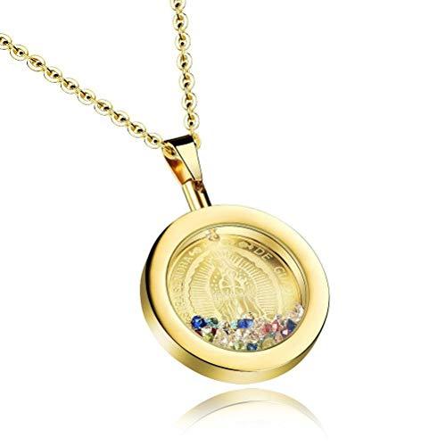MingXinJia Jungfrau Maria Farbige Diamantschlüsselfrauenhalskette, Gold