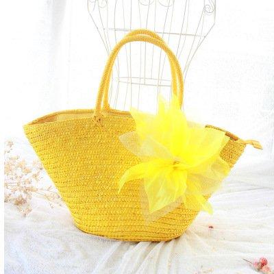 Mefly Il Coreano Filato Intrecciato Di Fiori Di Seta E Fiori Pastorale Sacchetto In Tessuto Fashion Borsetta Borsa Da Spiaggia Paglia Colorata Senza Fiore yellow