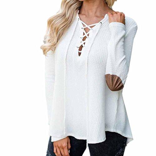 T-shirt Donna,LandFox Da Donna Manica Lunga Sciolto Cappuccio Cardigan A Maglia Maglione Saltatore Top Bianca