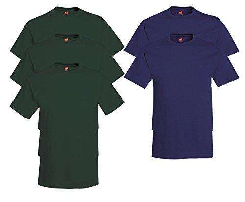 Hanes Mens Tagless Comfortsoft Crewneck T-shirt (Pack of 5) 3 Deep Forest / 2 Navy