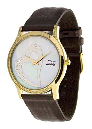 Moog Paris Sweet Love Montre Femme avec Cadran Nacre Blanc, Eléments Swarovski, Bracelet Marron en Peau D'Anguille - M44392-012