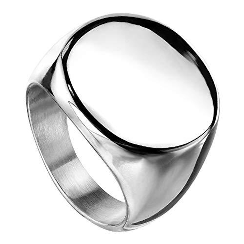 Piersando Band Ring Edelstahl Bandring Ehering Partnerring Biker Rocker Ring Runder Siegelring Damen Herren Größe 54 (17.2) Silber