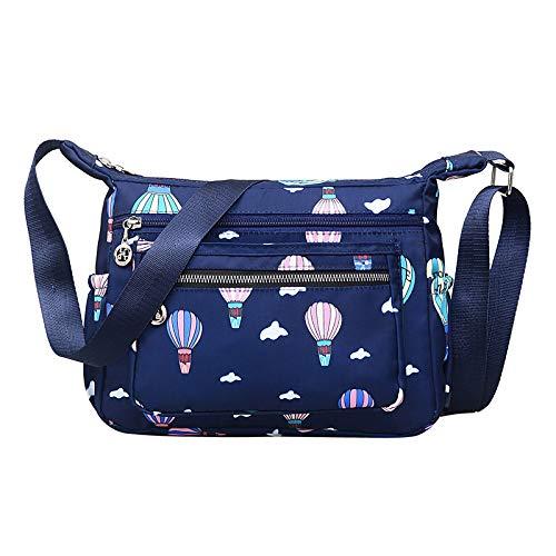 Nuova borsa da donna casual in nylon Borsa leggera da donna diagonale a grande capacità Fashion Fresh Wild Single Blue Hot Air Balloon