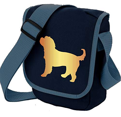 Cockerpoo Bag Reporter Bag Umhängetasche Cockapoo Silhouette Cocker Spaniel Pudel Cross Hund Geschenk Farbwahl, Blau - Apricot Dog Navy Bag - Größe: Small/Medium -
