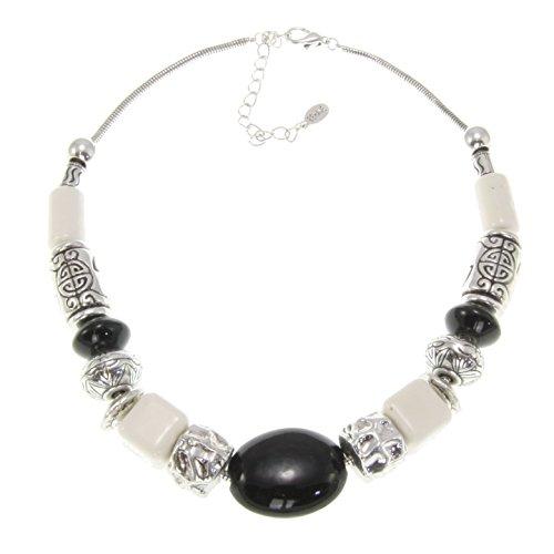 ß mit schwarzen keramische Steine - Designer Halskette für Damen - Mode Accessoires - Modeschmuck (Designer Modeschmuck)