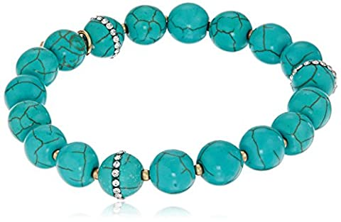 Anne Klein Gold-Tone Turquoise Beaded Stretch Bracelet