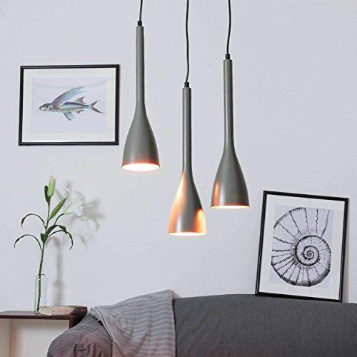 Moderne 4-licht Pendelleuchten (Hängeleuchte Esstisch / in gold und grau / 3x E27 bs 60 Watt 230V / Pendelleuchte modern / Küche Wohnzimmer / Höhenverstellbar)