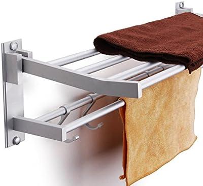 twinkler toalla de baño de aluminio montado en la pared estante de toalla accesorios con 5ganchos para mover
