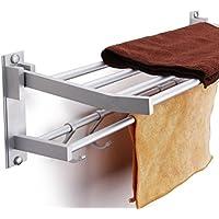 Toallero, baño Kasliny Toallero doble para baño, Aleación de aluminio Estante de almacenamiento plegable montado en la pared con 5 ganchos