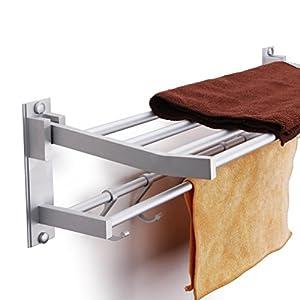 baño Kasliny Toallero doble para baño, Aleación de aluminio Estante de almacenamiento plegable montado en la pared con 5…