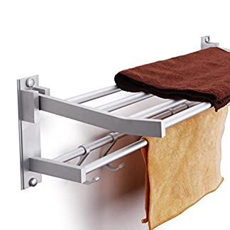 baño Kasliny Toallero doble para baño, Aleación de aluminio Estante de almacenamiento plegable montado en la pared con 5 ganchos