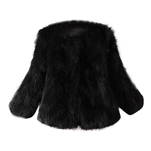Donna faux pelliccia morbida lonshell donna parka cappotto invernale cappotto gilet polsino winter parka pulli, donna, nero