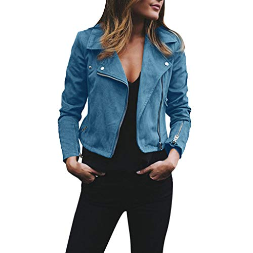 ShallGood Damen Kurz Jacke Lederjacke Casual Damenjacke Bikerjacke Pilotenjacke Frauen Retro Rivet Reißverschluss Oben Bomberjacke Cool Streetwear Mantel Outwear Hellblau DE 36