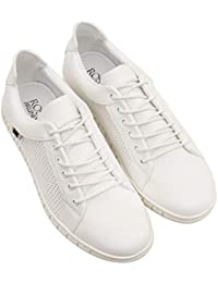 ROSSO BRUNELLO Men's White Sneakers Running Shoes