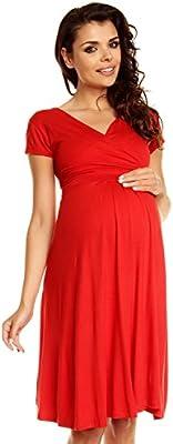 Zeta Ville - De Las Mujeres Maternidad Envolver V-cuello Verano Vestido - Corto Mangas - 108C