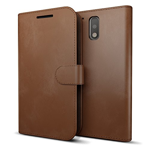 MTT® Premium Leather Flip Wallet Case with Card Slot for Moto G Plus ( 4th Gen ) (Brown)