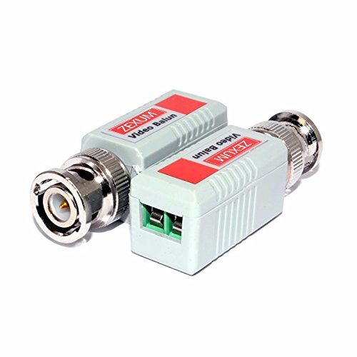 Zexum 4378 BNC Passives Video Balun Pair für CCTV über LAN Ethernet Netzwerkkabel, Grau - Bnc Passive Video