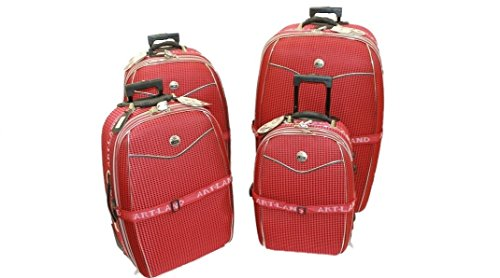 5 teiliges Kofferset Brilliant mit Dehnfalte & Beauty Case - rot
