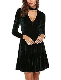 Meaneor Vestido de Fiesta Mujer Invierno Terciopelo Coctel Vestido Manga Larga