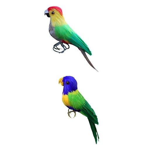 (MagiDeal 2pcs Garten Landschaft Künstliche Papagei Vogel Dekofigur Dekoration Farm Vogel Scarer Garten Ornament - Grün)