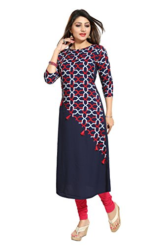 ALC Creation Women's A-Line Kurta (ALC4009NAVY_blue_medium)