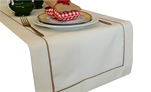 FK-Lampen Tischläufer Art - Deco Leinenoptik Läufer Tischband Größe + Farbe wählbar Top Design (Creme, 40 x 160 cm) (Top-falten-cremes)