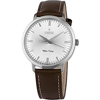 Men's Italian Designed Amarcord by Fonderia Sliver Dial with Brown Leather Strap Quartz Watch P-6A003US2