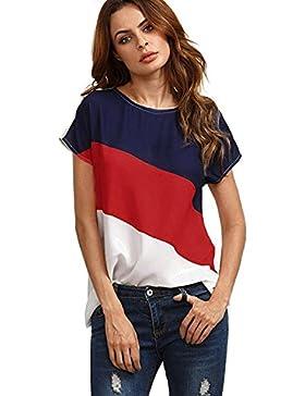 Yuson Girl Blusas Para Mujer, Blusa Casual de Manga Corta de Gasa de Color Block Para Mujer Blusas de Túnica Camiseta...
