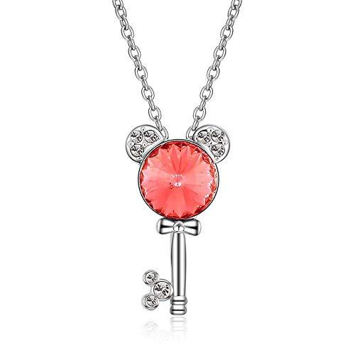MingXinJia Mode Anhänger Damen Halskette Damen Halskette Kristall Schlüssel Anhänger Weiblichen Schmuck Dame Geschenk für Frauen und Mädchen, 2# -